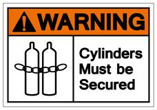 Warning Cylinders Must Be Secured Symbol Sign, Vector Illustration, Isolate On White Background Label .EPS10 stock illustration
