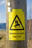 Warning: danger of death. An image of a sign warning ' danger of death' on the wooden pole of an electricity transmission line Stock Image