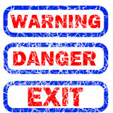 Warning, danger, and exit stamp. Warning, danger and exit stamped sign with blue frame and red letters against a white background vector illustration