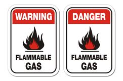 Warning and danger flammable gas signs Royalty Free Stock Photo
