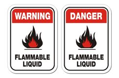 Warning and danger flammable liquid signs Royalty Free Stock Photography