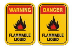 Warning and danger flammable liquid yellow signs Royalty Free Stock Image