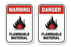 Warning and danger flammable material signs Royalty Free Stock Photos