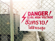 Warning danger high voltage sign and thai language mean danger h Stock Images