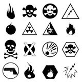 Warning And Danger Icons Set. Vector illustration of black warning and danger icons set on white background Stock Photos