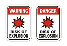 Warning and danger risk of explosion sign Stock Photos