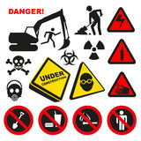 Warning Dangerous Label Signs Stock Image