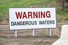 Warning Dangerous Waters Sign Stock Photos