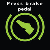 Warning dashboard sign. Press break pedal warning  green colour flat icon. Foot on the break. Automatic gear symbol. Stock Image