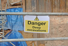 Warning deep excavation beyond this hoarding, don't cross, danger deep excavation. PERAK, MALAYSIA – SEPTEMBER 17, 2015: Warning deep excavation beyond Stock Photography