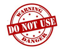 Warning do not use. Stamp with text warning do not use inside, illustration royalty free illustration