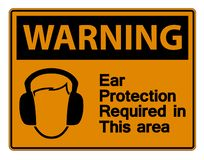 symbol Warning Ear Protection Required In This Area Symbol Sign on white background,Vector Illustration vector illustration