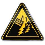 Warning earthquake and earthquake area. Warning sign earthquake, collapse and earthquake area Royalty Free Stock Photo