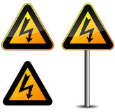 Warning electric sign Stock Images