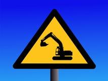 Warning excavator sign Royalty Free Stock Photos