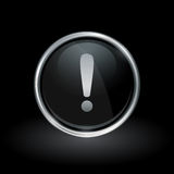 Warning exclamation mark icon inside round silver and black emb Royalty Free Stock Images