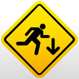 Warning falling off the stairs sign Royalty Free Stock Photography