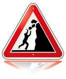 Warning falling rocks. Rockfall Sign Stock Photography