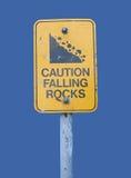 Warning falling rocks sign Royalty Free Stock Photos