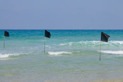 Warning flags in shallow water Royalty Free Stock Image