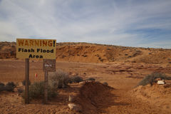 Warning Flash Flood Sign. A warning sign for flash flood area royalty free stock photo