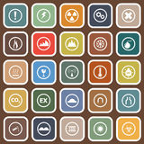 Warning flat icons on brown background Royalty Free Stock Photos