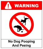 Warning forbidden sign no dog peeing and pooping. illustration isolated on white. Red prohibition symbol for public