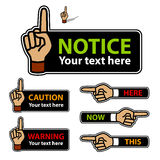 Warning forefinger and pointing hand labels Royalty Free Stock Photos