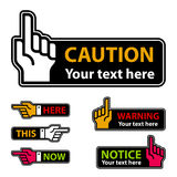 Warning forefinger and pointing hand labels Stock Photo