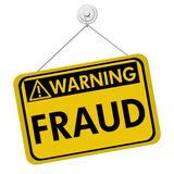 Warning of Fraud. A warning sign with the word fraud hanging isolated on white