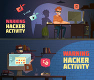 Warning Hacker Activity 2 Horizontal Banners. Warning hacker activity 2 retro cartoon horizontal banners with criminal breaking computer security passwords Royalty Free Stock Photo