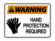 symbol Warning Hand Protection Required Wall Sign on white background vector illustration