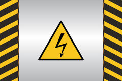 Warning Hazard Signs. Warning sign of electric danger and dimensional marking Stock Photo