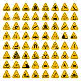 Warning Hazard Triangle Signs Set. Vector illustration. Yellow symbols isolated on white.  Stock Photos