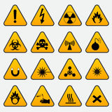 Warning Hazard Triangle Signs Stock Images