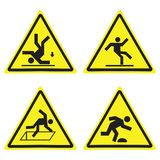 Warning Hazard Yellow Triangle Signs Set Isolated On White vector illustration