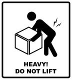 Warning heavy object sign. Do not lift. Mass vector packaging symbol on vector cardboard background.  Stock Photos