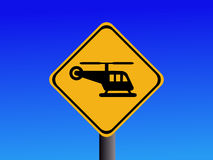 Warning Helicopter sign Royalty Free Stock Photos
