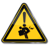Warning herniated through incorrect lifting Royalty Free Stock Image