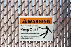 Warning high voltage. High voltage warning sign stock image