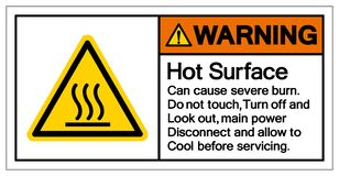 Free Warning Hot Surface Can Cause Severe Burn Do Not Touch Turn Off And Look Out,main Power Disconnect And Allow To Cool Before Royalty Free Stock Image - 184021856