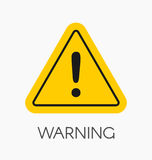 Warning icon / sign in flat style isolated. Caution symbol for y Stock Photography