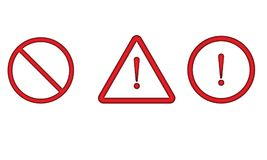 Warning Icon Stop Sign Warning Hazard Sign. Prohibited symbol Design Vector eps file format Royalty Free Stock Photography