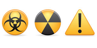 Warning Icons EPS. A set of warning icons / symbols in yellow with shadows placed on a separate layer for ease of use. Available in vector EPS format royalty free illustration