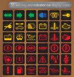 Warning and indicator car display icons set Royalty Free Stock Images