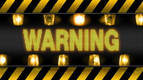Warning - Industrial Barricade. Industrial border with WARNING text and flashing orange warning lights stock illustration
