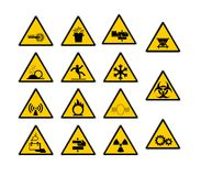 Warning industrial sign. Warning sign on white background Royalty Free Stock Photos