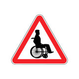 Warning invalid. Sign caution wheelchair on road. Danger way sym. Bol red Triangle Stock Image