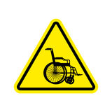 Warning invalid Sign. caution wheelchair on road. Danger way sym Royalty Free Stock Photo