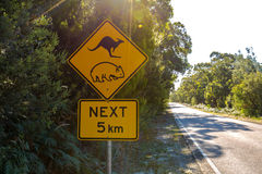 Warning: Kangaroo and Wombat Crossing sign Stock Images